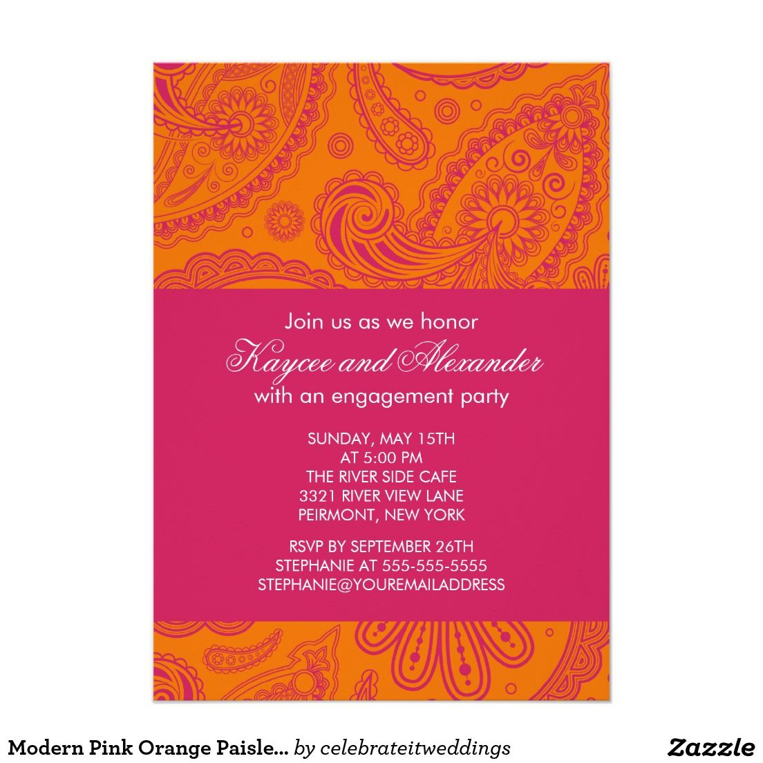 Modern Pink Orange Paisley Engagement Invitations | Wedding ...
