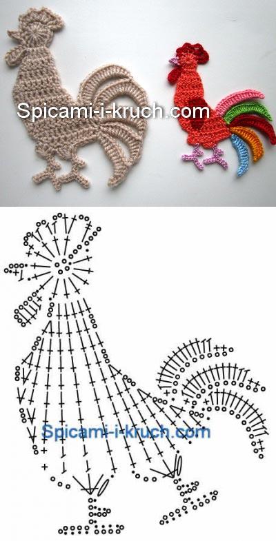 Аппликация крючком Петух | Crochet para Mimo | Pinterest | Gallos ...