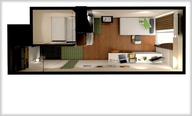 キッチンが室内にある大学生向け6畳ワンルームマンションのレイアウト 一人暮らしのワンルームインテリア ワンルームマンションのレイアウト ワンルーム レイアウト 6 畳 アパートのレイアウト