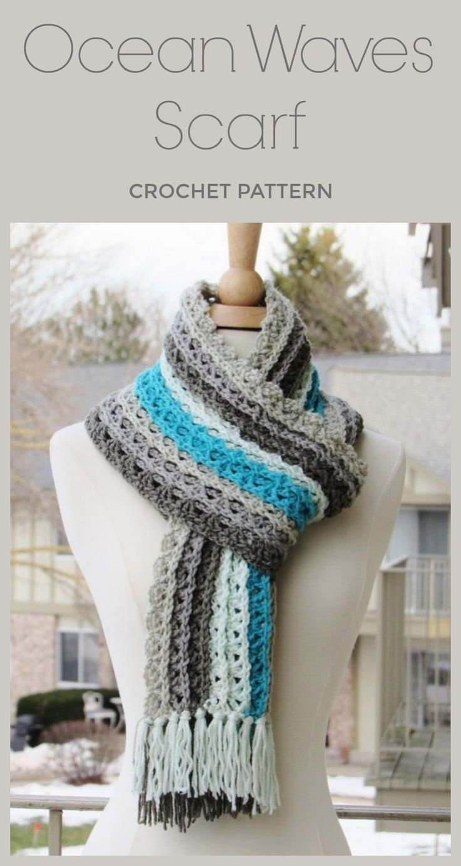 Ocean Waves Scarf Crochet Pattern By Crochet Dreamz Hook