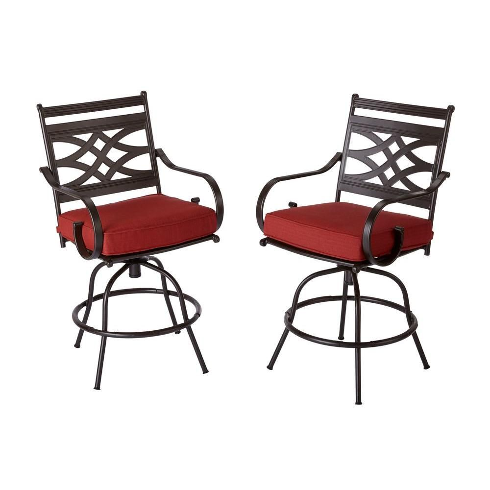 Hampton Bay Middletown Patio Motion Balcony Chairs with Chili ...