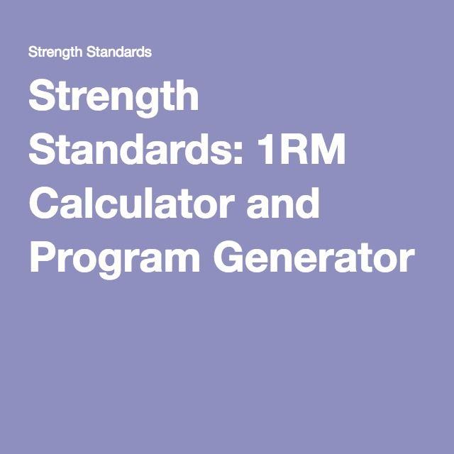 75721569bd1 Strength Standards  1RM Calculator and Program Generator