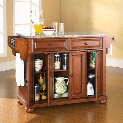 Alexandria Kitchen Island with Granite Top Base Finish Classic