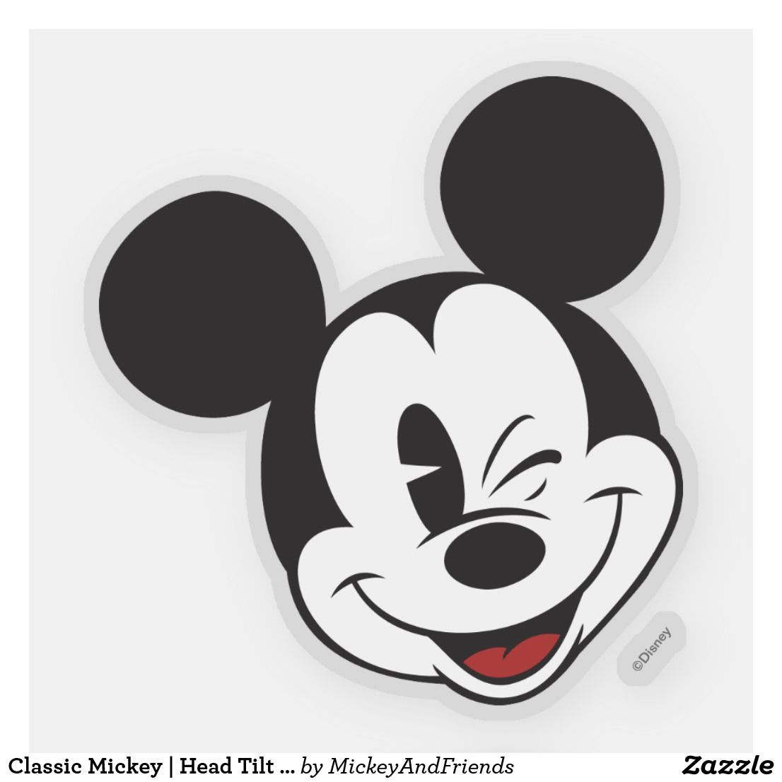 Classic Mickey Head Tilt Wink Sticker Zazzle Com Mickey Mouse Stickers Mickey Mouse Art Disney Sticker [ 1106 x 1106 Pixel ]
