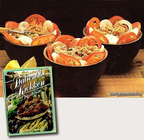 "Tonne Sott Olie Con Cipolle – Tuna Salad – Tunfisksalat - A recipe from ""Italiensk Kjøkken På Sitt Beste"" (Italian Kitchen At Its Best) published by Den Norske Bokklubben in 1977"