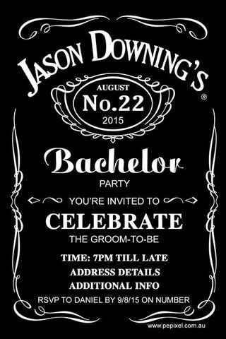 Jack Daniels Bachelor Party Digital Printable Invitation Template