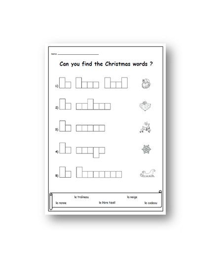 French Christmas Worksheetprimary Printable Resourcesks1 Etsy Handwriting Activities Christmas Words Handwriting Worksheets