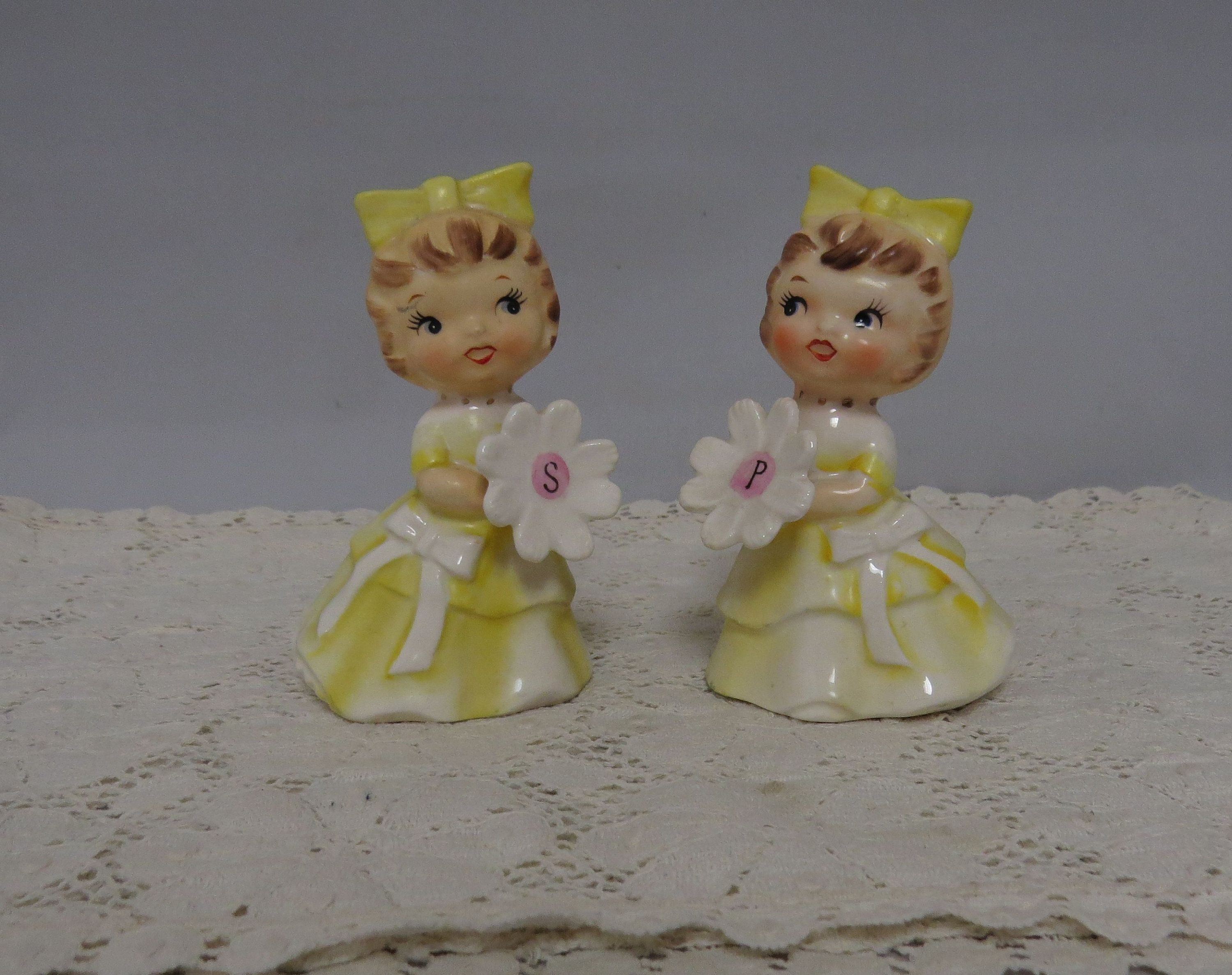 Lefton Salt and Pepper Shakers Girls with Flowers