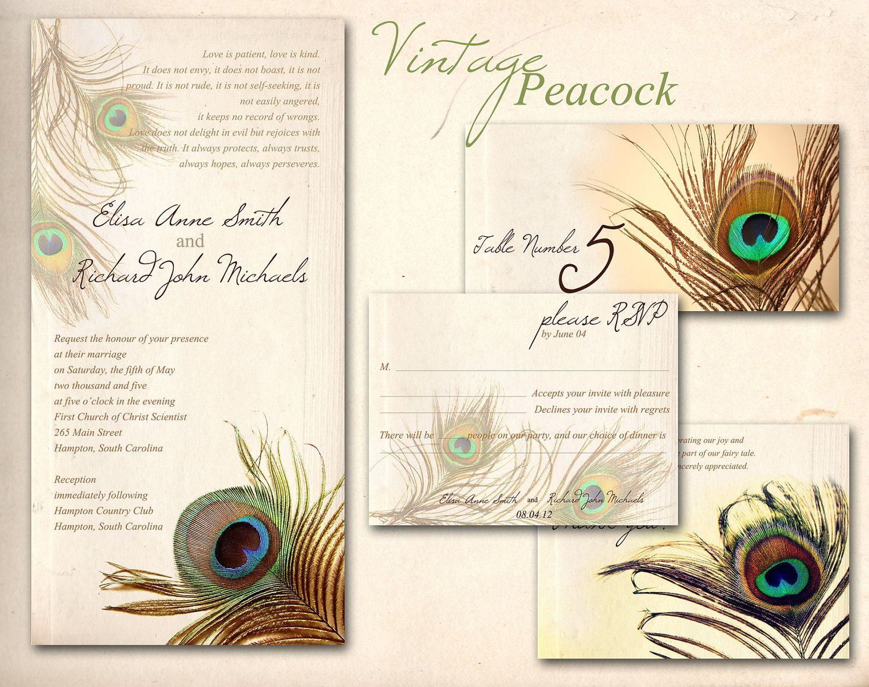 Peacock wedding invitation printable template vintage by
