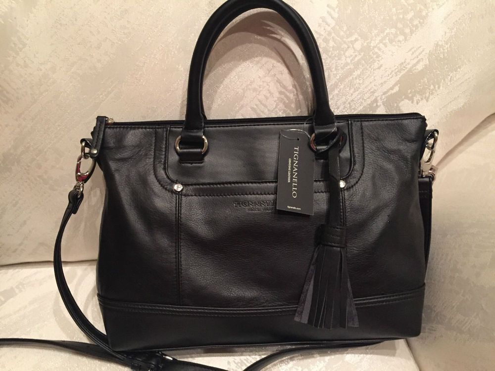 fa0516384 Tignanello Smooth Operator Convertible Satchel Bag Leather Black NWT $165 # Tignanello #Satchel