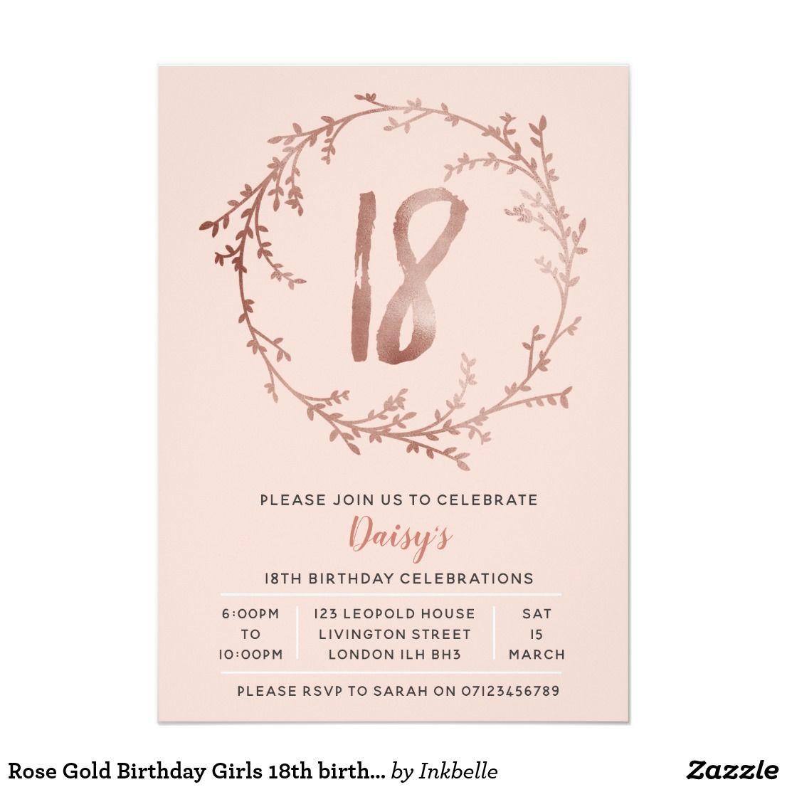 18eme Invitation D Anniversaire D Or De Filles Zazzle Fr Idee Invitation Anniversaire Invitation Anniversaire Carte Invitation Anniversaire 18ans