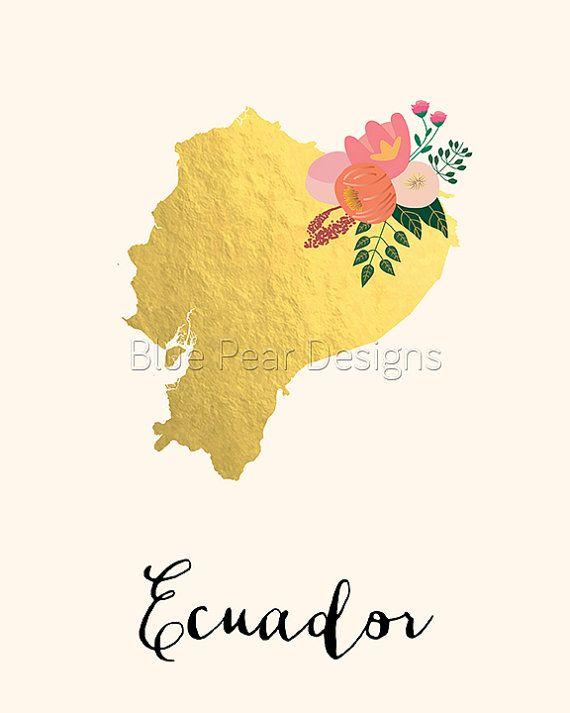 Ecuador Map Ecuador Art Ecuador Poster By WhitespaceAndDaisy - Ecuador map