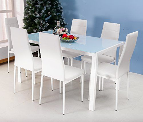 Merax 7PC Glass Top Dining Set 6 Person Dining Table and Chairs Set