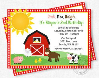 Farm first birthday invitation digital file Filing Digital and