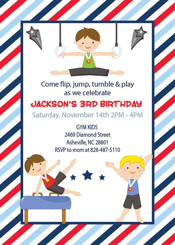Printed Boy 39 S Gymnastics Gym Birthday Invitations Thank You Gymnastics Birthday Party Invitations Birthday Invitations Kids Kids Birthday Invitation Card