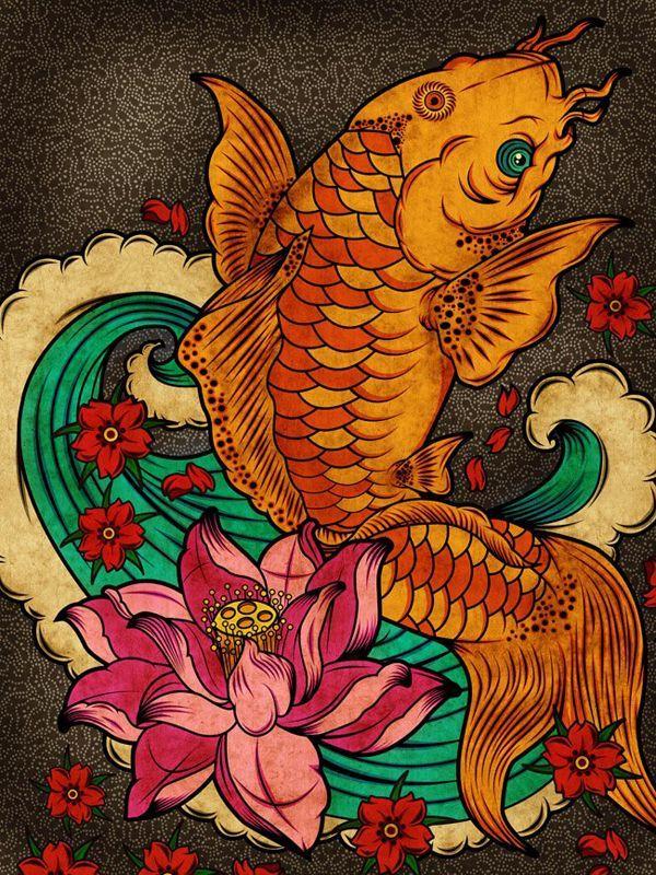 Японские рыбы рисунок, открытки своими руками