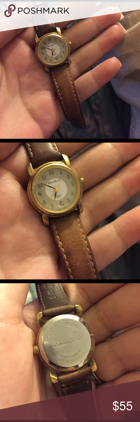 Eddie Bauer Women's Watch Vintage model. Leather and gold. Quartz 100ft. Water resistant Accessories Watches