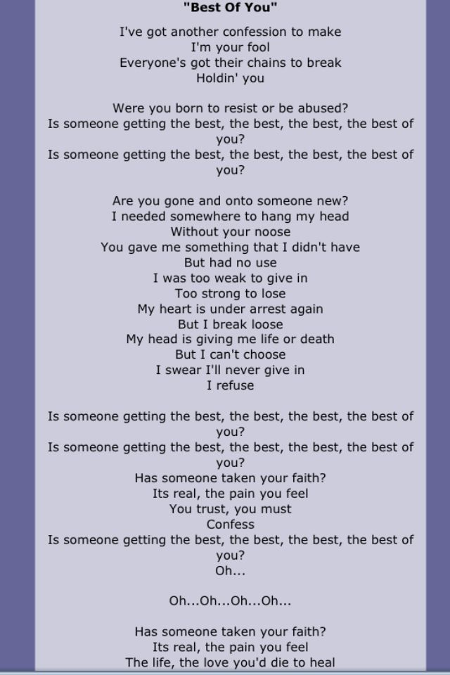 Getting the best of you lyrics