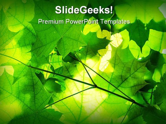 Green Leaves Nature PowerPoint Template 1110 wedding templates - nature powerpoint