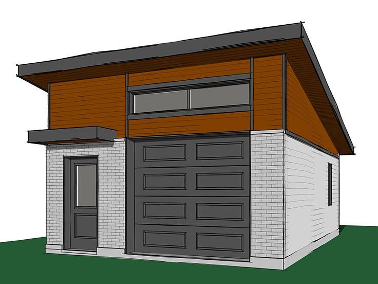 Modern 1 Car Garage With Sloped Roof Garage Design Garage Plans With Loft Modern Garage