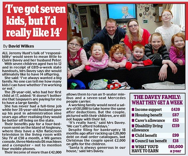 'I've got seven kids, but I'd really like 14' This article describes welfare in Britain but the US is not far off. Our politicians buy votes as well.  What is wrong with suggesting that those on public assistance, especially those who have been on it long term, should stop having children.