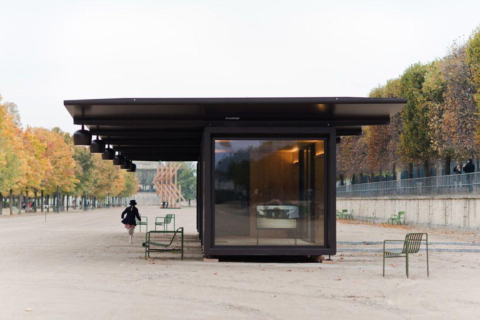 Bouroullecs install kiosque steel pavilions for paris for Fiac 2015 jardin des tuileries