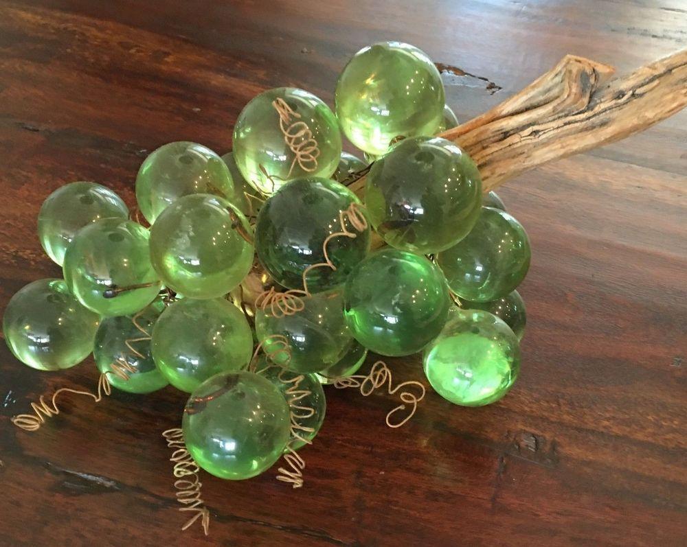 Vintage 1960 Acrylic Grapes On Driftwood Vintage Alabaster Grapes Grapes