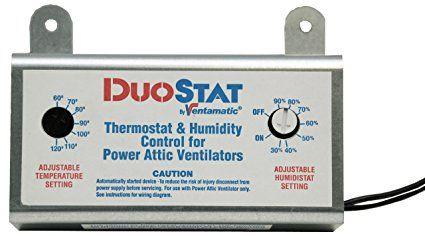 Ventamatic Xxduostat Adjustable Dual Thermostat Humidistat Control For Power Attic Ventilators Outdoor Thermometer Ventilation Accessories