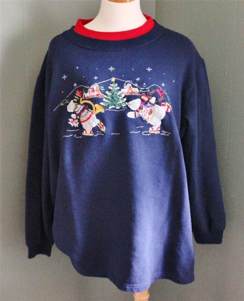 Ugly Christmas Sweater Women Men 2XL xxl sweatshirt Polar Bear embroidered CS34 #BaxterandWellsWoman #Crewneck