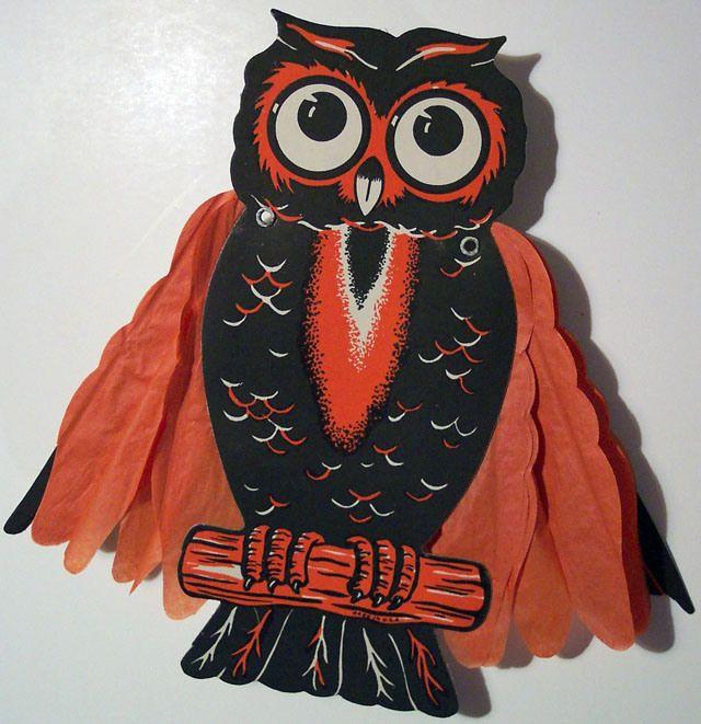 Vintage Beistle Halloween decoration - Owl halloween Pinterest - halloween decorations vintage