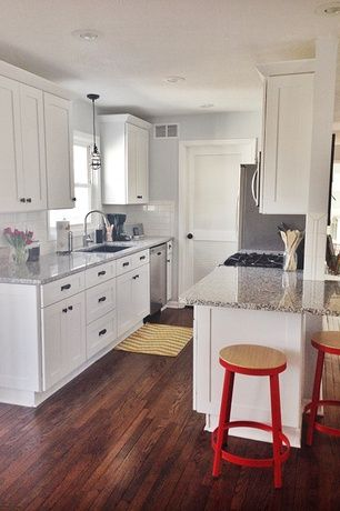 Galley Kitchen Remodel White traditional kitchen with 2 in. quartz countertop in alpina white