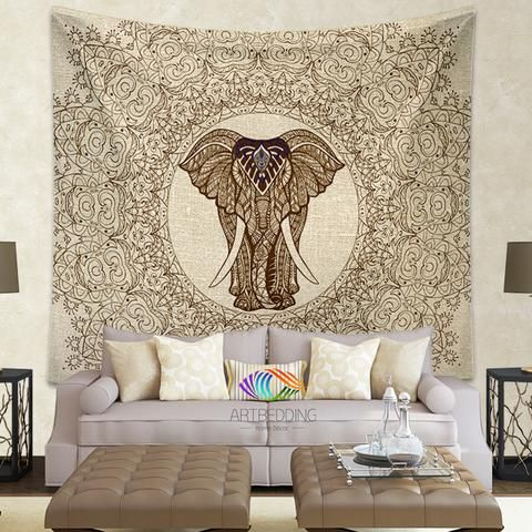 Elephant Tapestry, Elephant tapestry wall hanging, Lace mandala