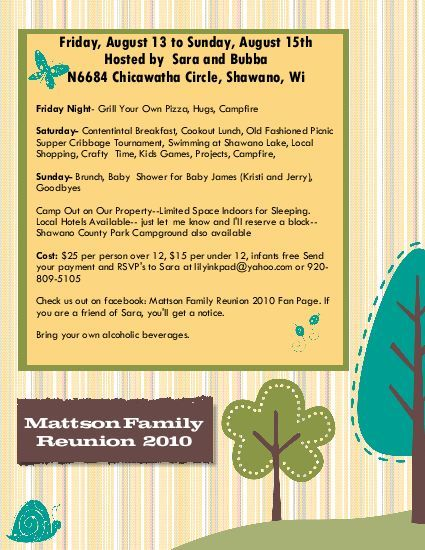 Family Reunion Announcement Flyers - Invitation Templates Family