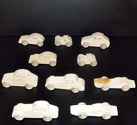 10 Handcrafted Wood Toy Cars OT- 78 Unfinished Or Finished