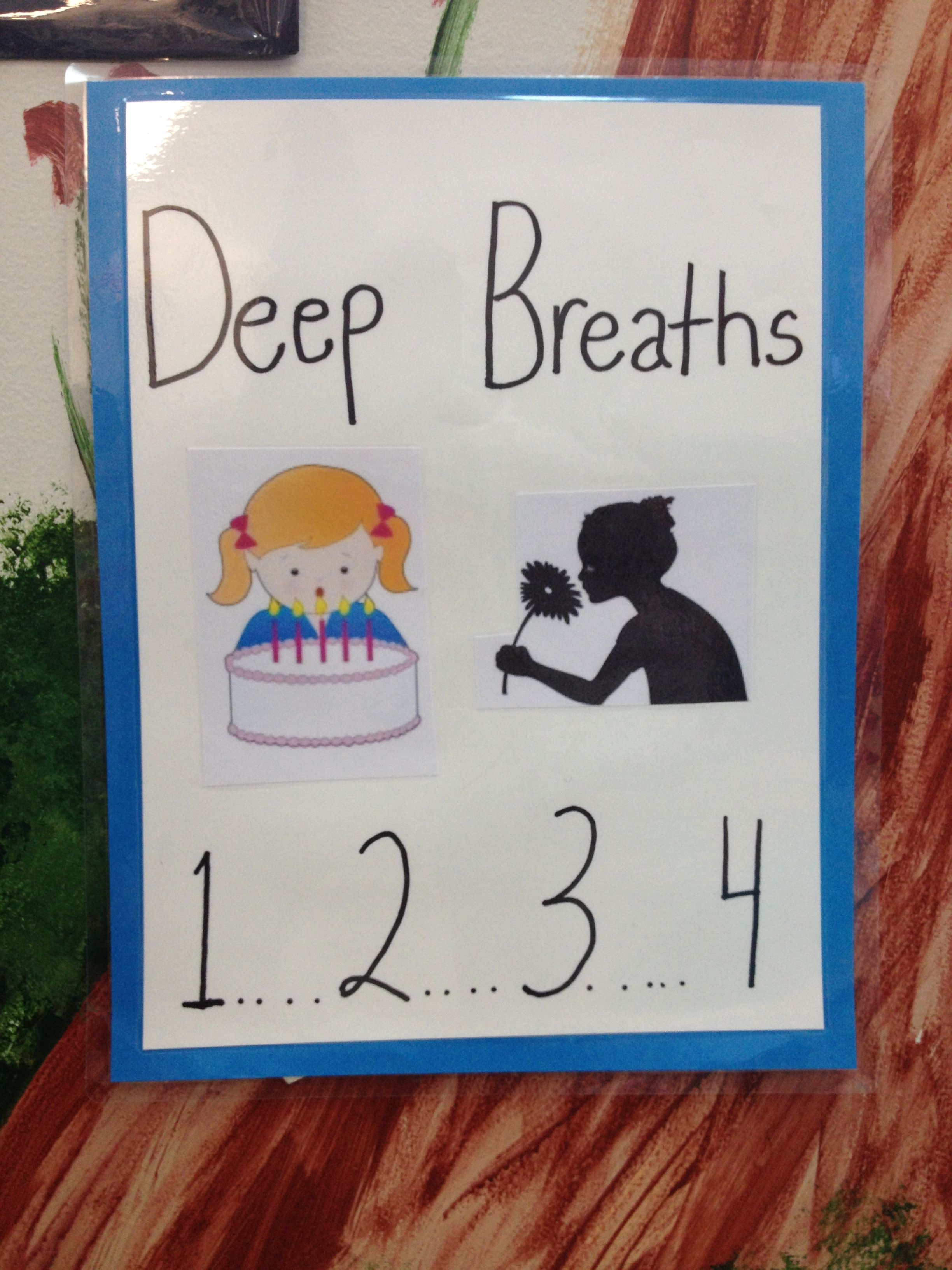 4 deep breaths poster. smell the flowers, blow out the birthday cake