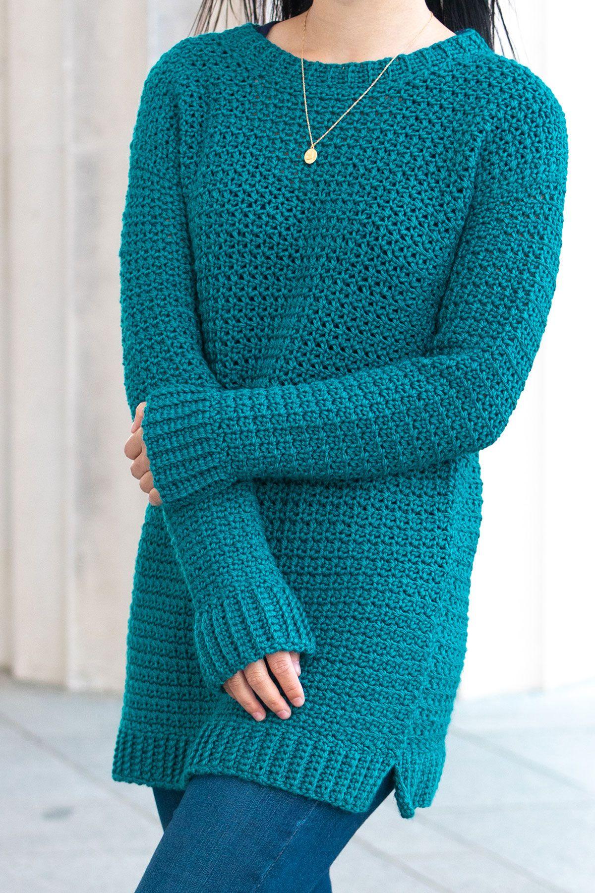 Weekend Snuggle Sweater Free Crochet Pattern For The Frills In 2020 Crochet Sweater Pattern Free Crochet Sweater Free Womens Crochet Patterns