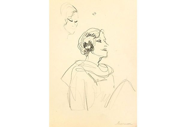 Operetta Singer C 1930 On Onekingslane Com French Pencil Drawing Of The Operetta And Silent Film Actress Jane Mayer Sta Italian Artist Silent Film Drawings