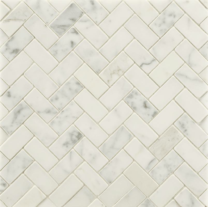 Large herringbone white marble with ribbons of grey--would be gorgeous on a kitchen backsplash or bathroom floor. ANN SACKS Statuary Classic mosaic in honed finish