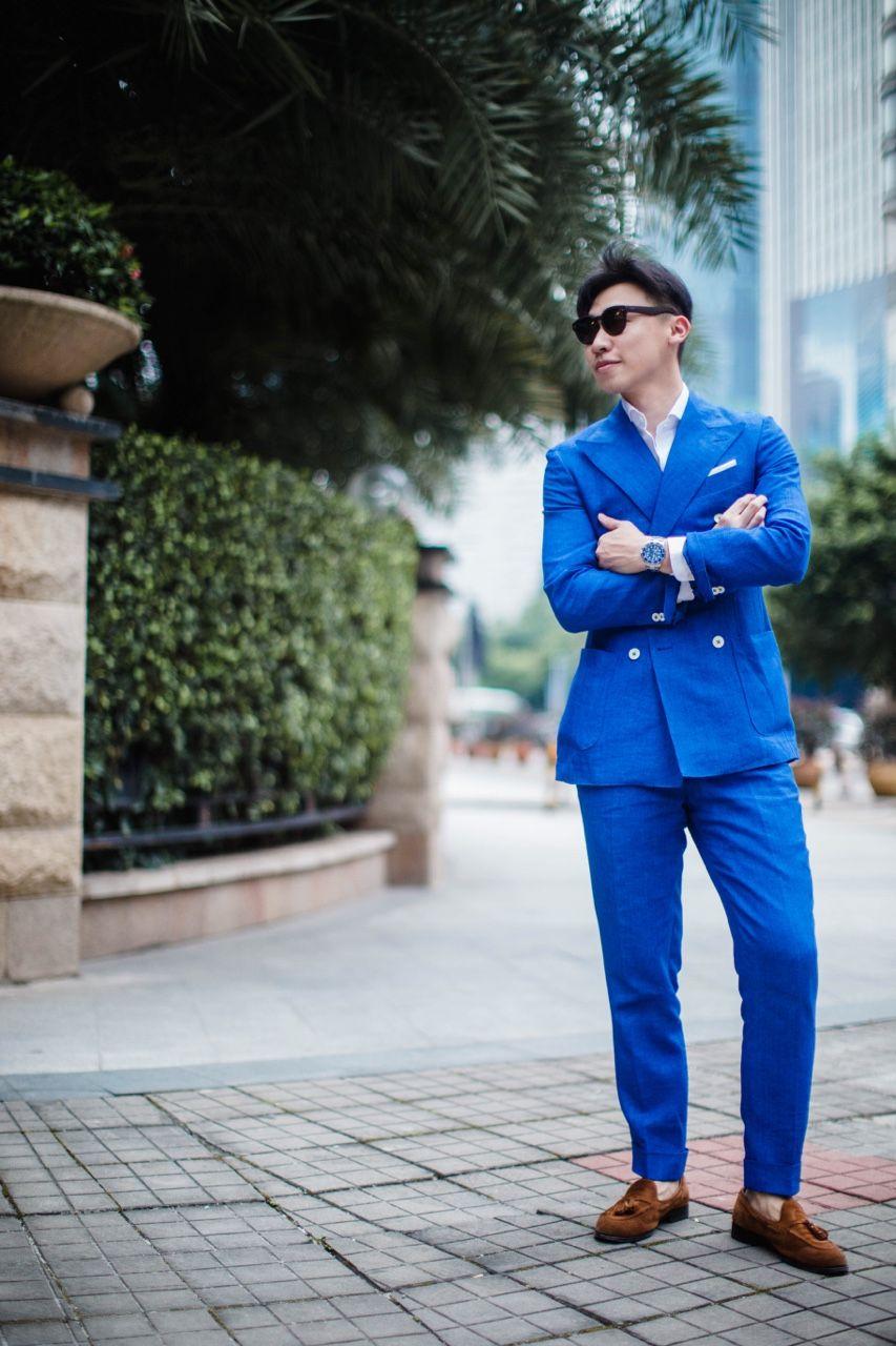 Blue DB linen suit