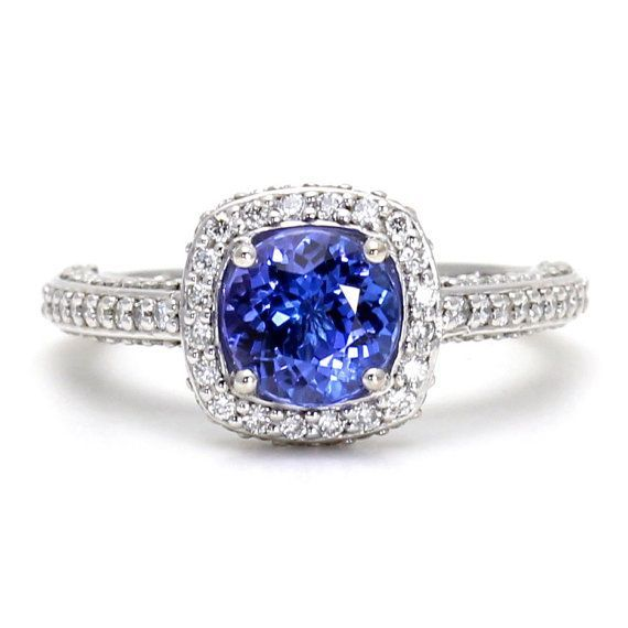 halo kaplan cushion gold arthur ring trillion white tanzanite and products pear engagement rings diamond