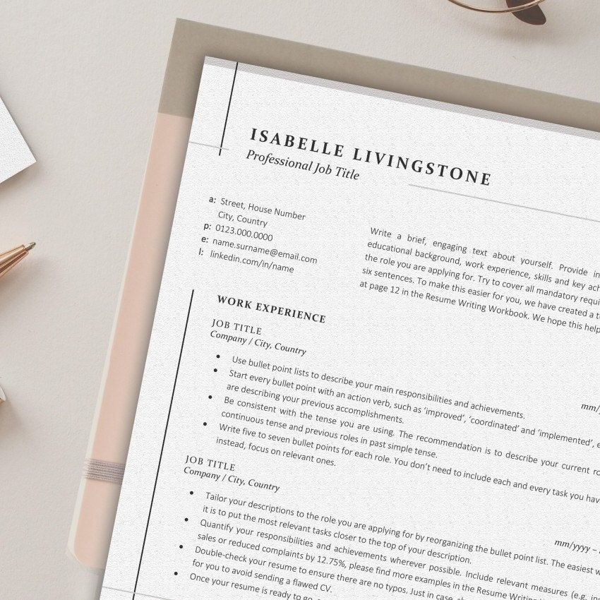 Resume Template, Instant Download Business CV Design for