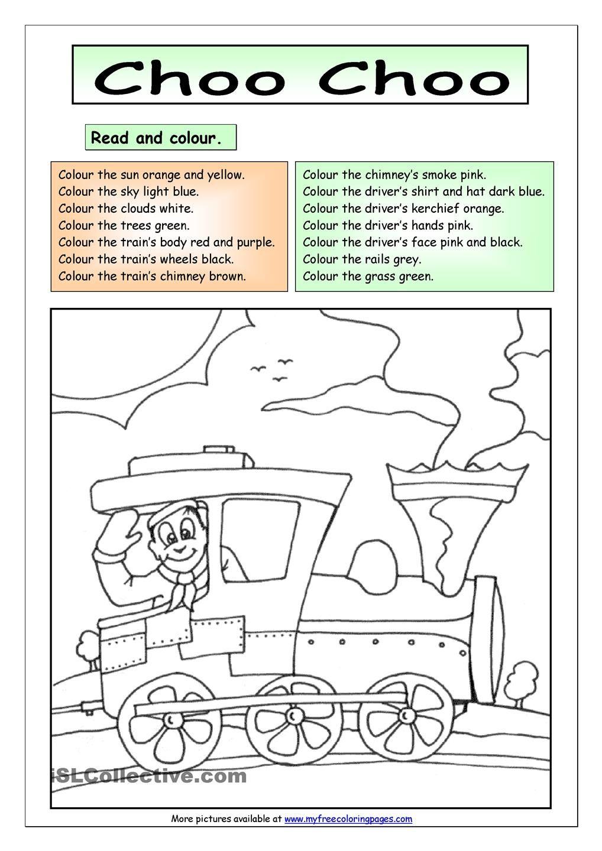 Read And Colour Choo Choo Color Colours Color Worksheets [ 1440 x 1018 Pixel ]