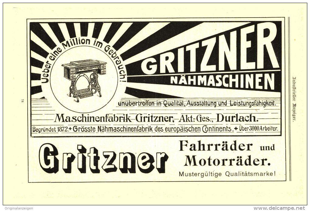 Original-Werbung/Inserat/ Anzeige 1906 - GRITZNER NÄHMASCHINEN / FAHRRÄDER / MOTORRÄDER -  ca. 190 x 115 mm