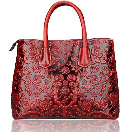 """Pijushi Nature Collection Real Leather Satchel Convertible Top-handle Handbag with 34"""" Removable Shoulder Strap, Top Zip Closure 22110 (Rose Red) PIJUSHI"""