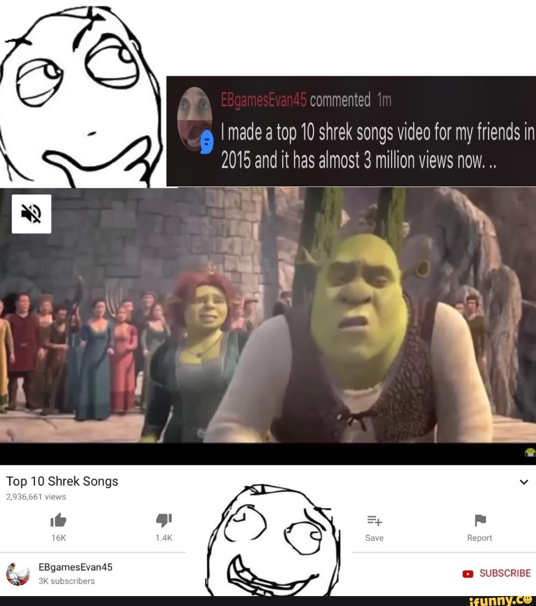 Made A Top 10 Shrek Songs Video For My Friends In 2015 And It Has Almost 3 Million Views Now Ifunny Songs Memes Poor Life Decisions