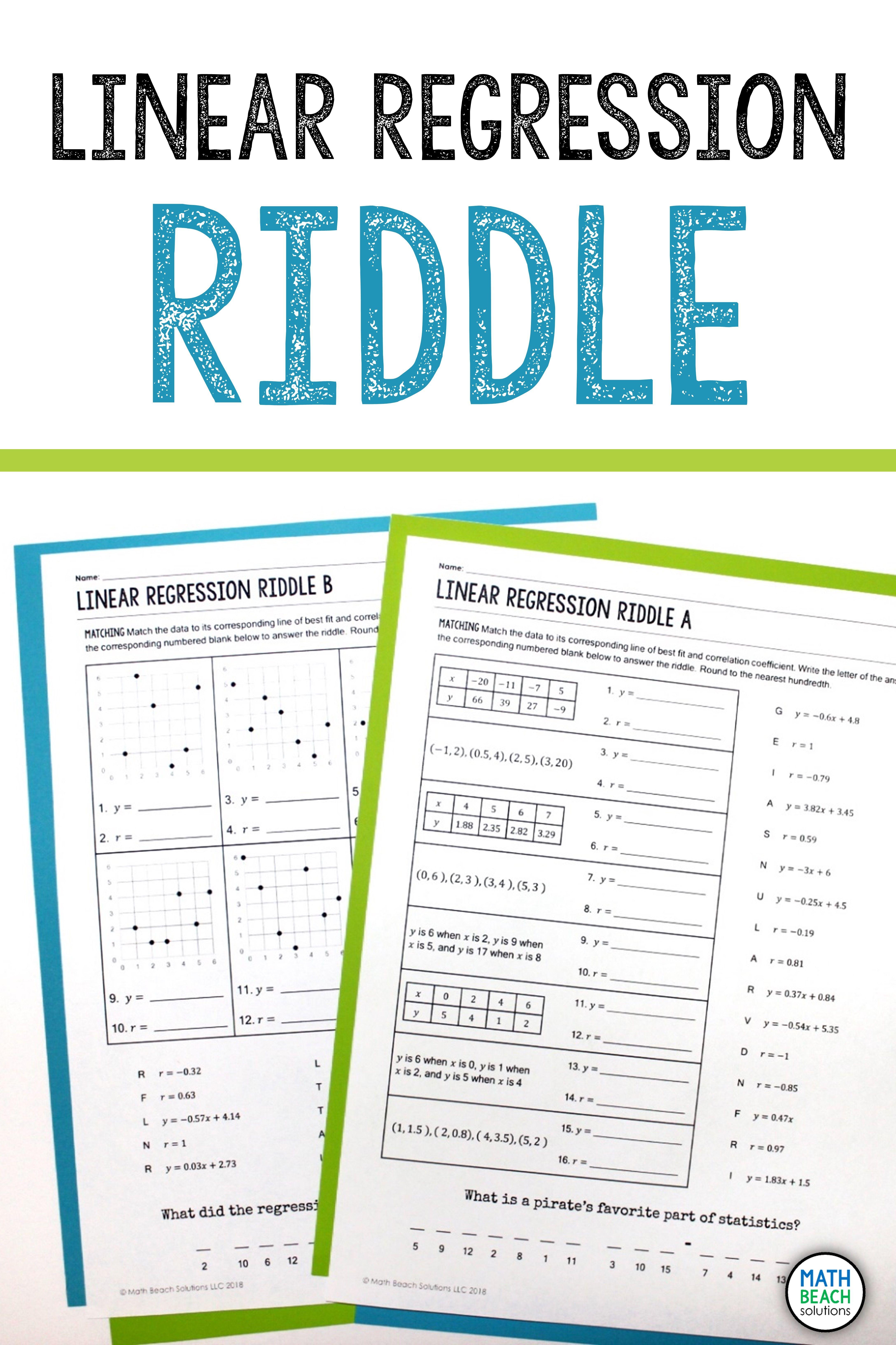 Linear Regression Riddle Activity Linear Regression Algebra Worksheets Math Addition Worksheets [ 6528 x 4352 Pixel ]