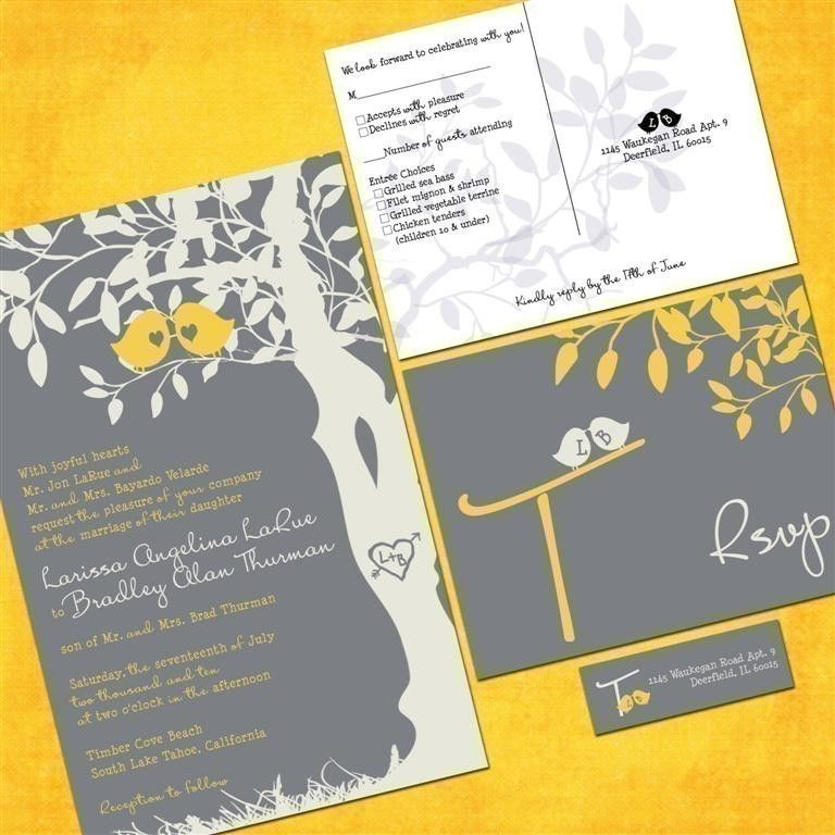 Gray and Yellow Love Birds Wedding Invitation Sample Packet ...