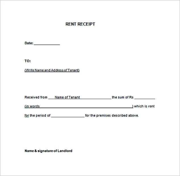 Rent Receipt Template Word Free Download , Free Rent Receipt ...