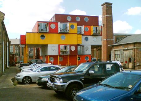 Stacked shipping container housing in England. Flickr/plentyofants