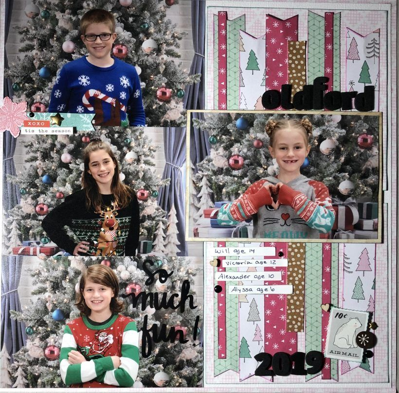 Multi Photo Christmas Scrapbook Layout   The Paper Addict in 2020